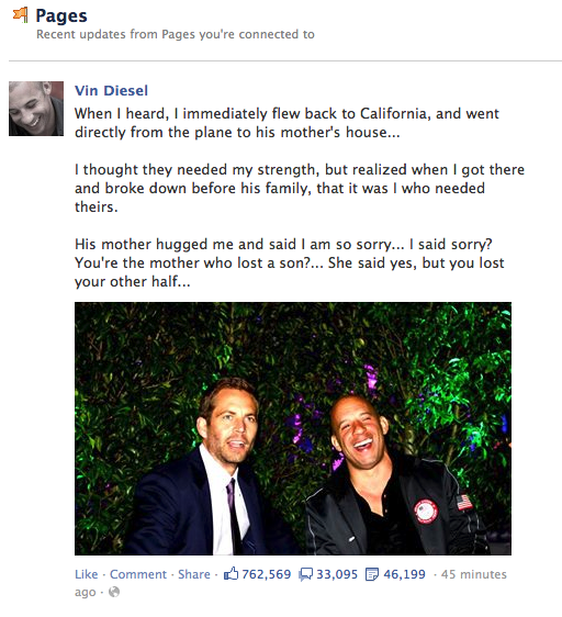 @stoolpresidente @JFeitelberg Reading Vin Diesel's Facebook comment about Paul Walker, getting emotional about it. http://t.co/PX7W2BfpkT