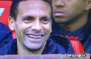 Rio Ferdinand looks positively delighted to be a sub for United today against Newcastle