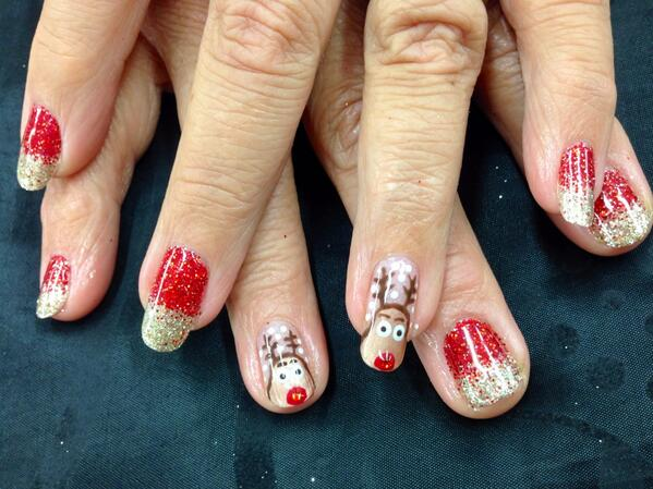 The Aurora Studio On Twitter Christmas Nails Rudolf Nail Art With CND Shellac Rockstar Mix FingerNailFixer Cnd NailFashion