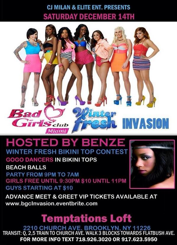 Next Saturday it's #BGCMiami  #WinterInvasion Hosted by @BENZE_LOHAN @Temptations 2210 Church Ave. BK, NY 11226! http://t.co/7j4omkanWT