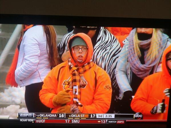 The OSU fan in his natural state. Confused and watching OU score a touchdown... Again. http://t.co/Q8HM6HxyER
