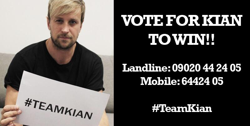 YOUR vote could make #TeamKian KING OF THE JUNGLE. You have been amazing so far, lets do this!!! CALL NOW!! http://t.co/Nl2rigMoQx