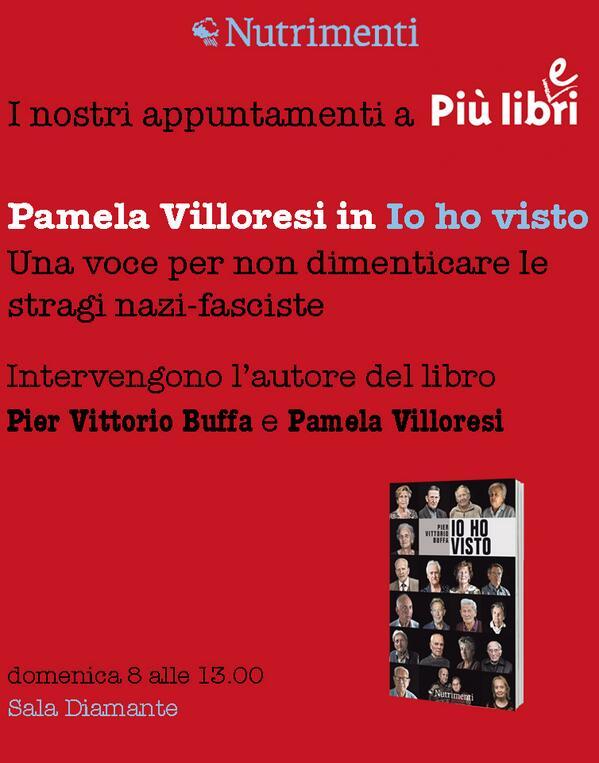 Buongiorno! Oggi alle 13 nella sala diamante  Pamela Villoresi legge #IoHoVisto, #libro di @PierVittBuffa #piulibri13 http://t.co/Af3fLJEd2x