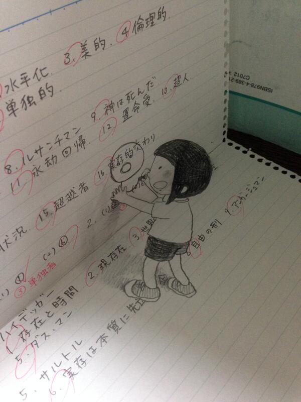 女の子のノートの落書き