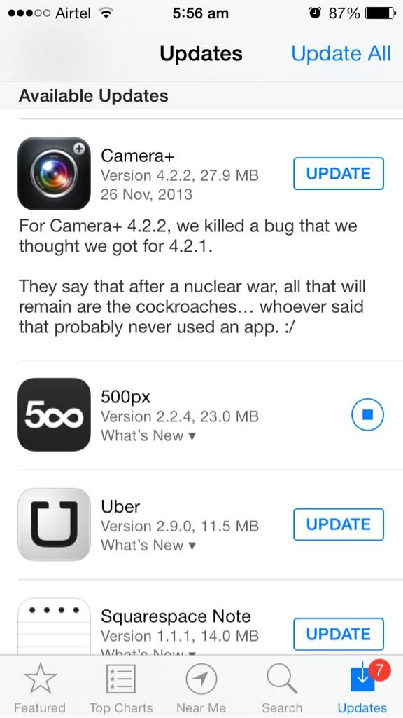 As usual , changelog humour from camera+. I love these guys http://t.co/3hZmruor7K