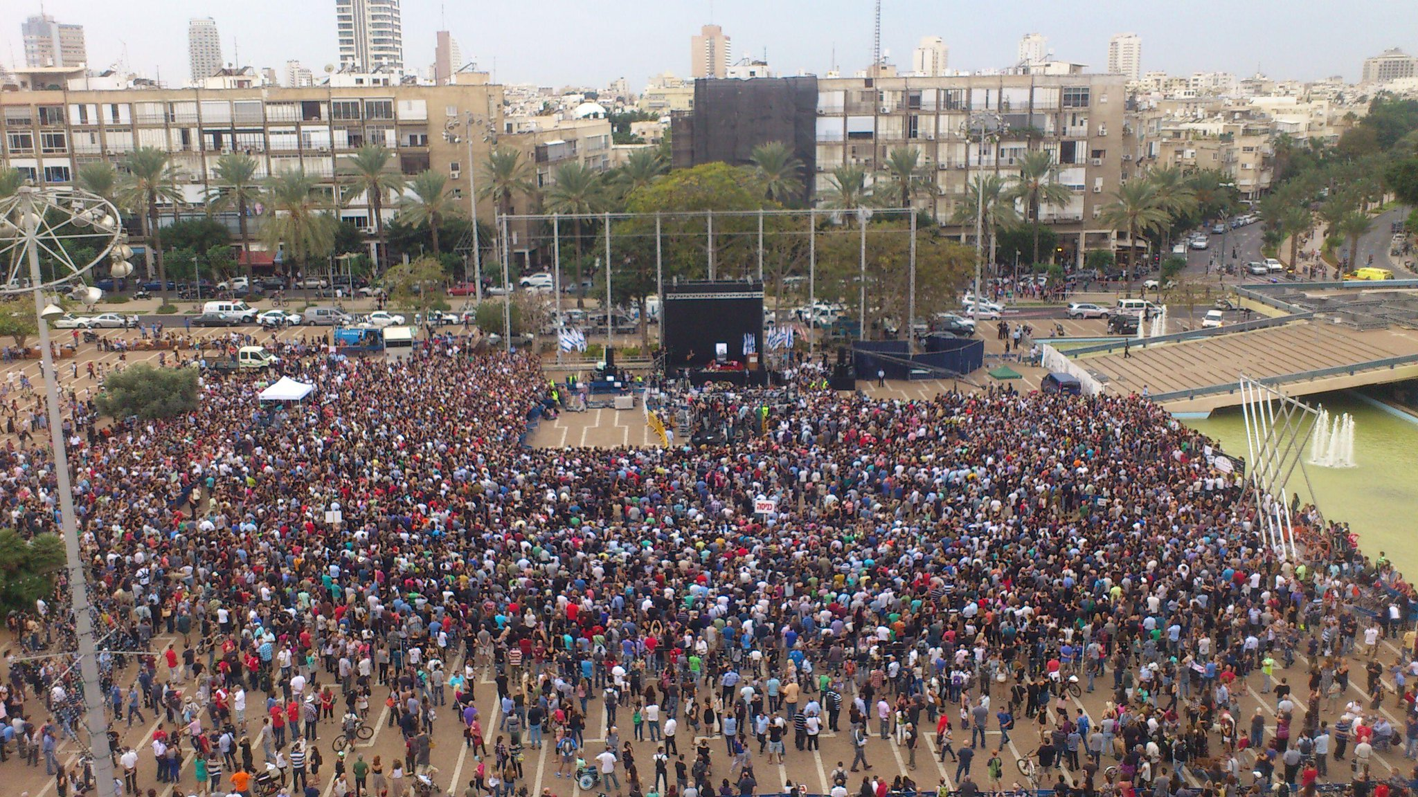 Twitter / Benhartman: Pic: Big crowd at Kikar Rabin ...