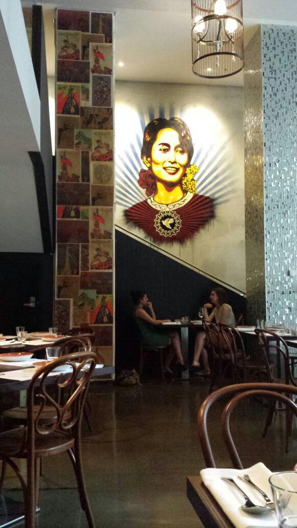 Inspiration: Aung San Suu Kyi wall art @BurmaLaneMelb  #burma http://t.co/Ii9EcxRZ5t