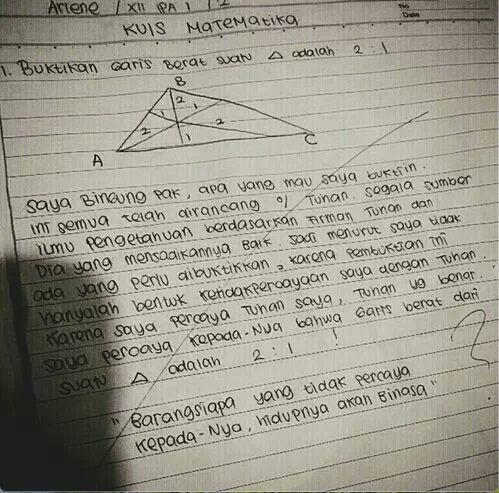 Anak yang sungguh bertakwa, bahkan dlm mengerjakan Matematika.... http://t.co/X4dri8XV07