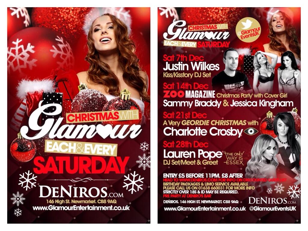RT @ZOO: Who's heading to the @ZOO Xmas party at @DeNirosSuffolk Newmarket on Saturday? @GlamourEventsUK @danebowers http://t.co/g77vQlv1ag