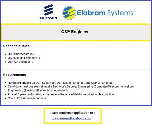 "Elabram Systems on Twitter: ""#vacancy - Ericsson Indonesia - OSP ..."