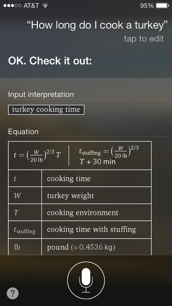 How long do I cook a turkey, Siri? http://t.co/J0KxA5WuG5
