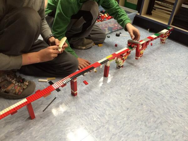 Making a bridge w/ monorail tht spans the classroom at lego club @LEGO_Group @deninejones @pammoran @CaleElementary http://t.co/W8cEgQL48o