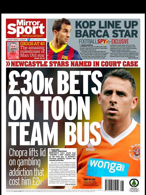 Thursdays Mirror: Liverpool line up bid for Montoya; £30k bets on Newcastle team bus
