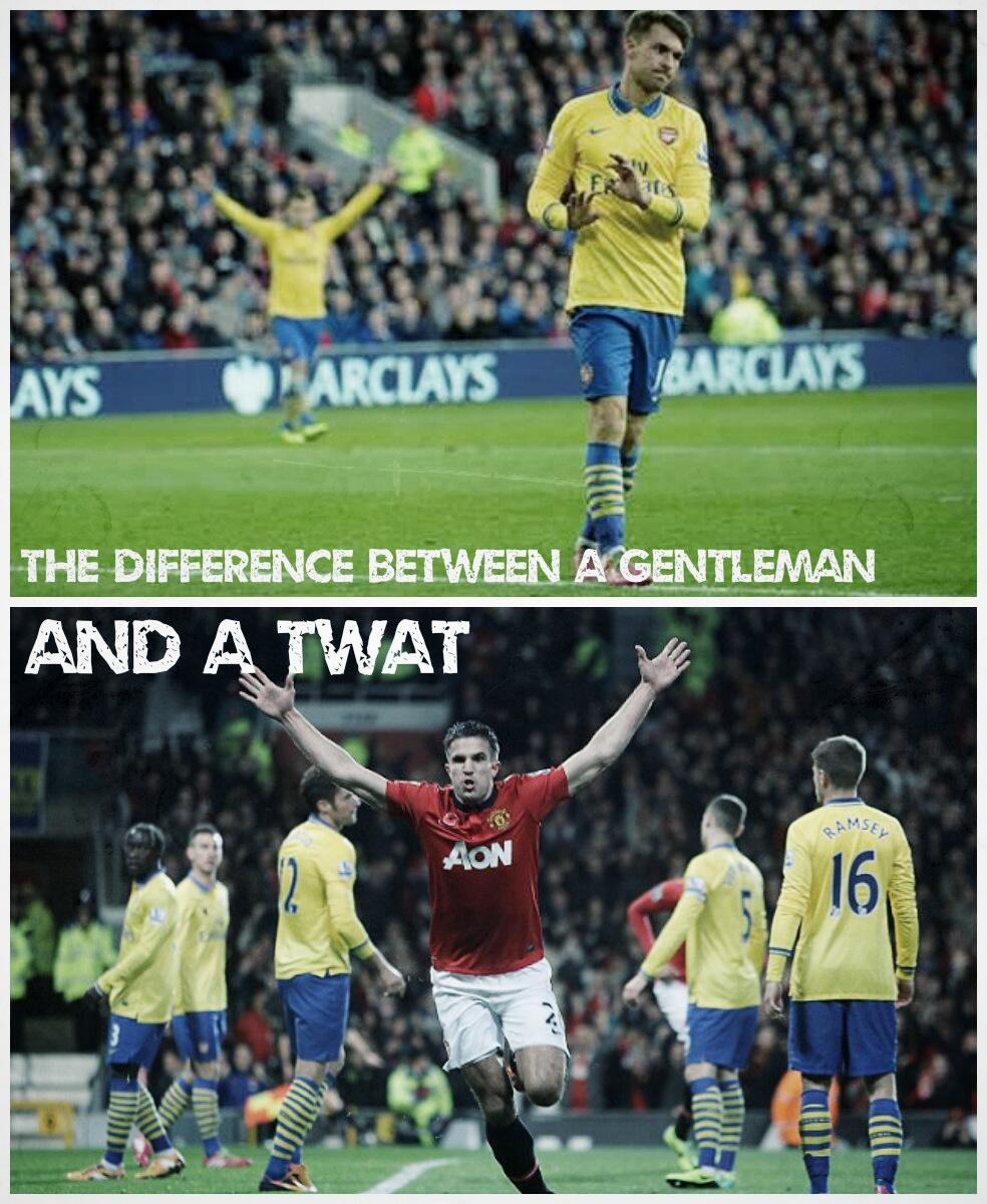 Arsenal fans compare Ramseys non celebration at Cardiff to how van Persie reacted after scoring for Man United [Meme]