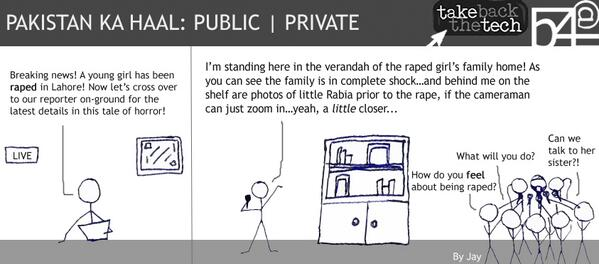 Pakistan Ka Haal: Public | Private - A caricature series by @jhaque_ for #TakeBackTheTech #privacyismyright campaign. http://t.co/JURXfIu07u