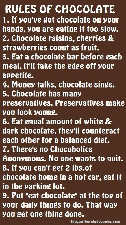 Twitter / JacqueGonzales: The Rules of Chocolate!!! (If ...