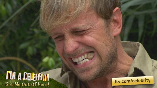 Kian enjoying *ahem* Fish n Nips (Yep, cows teat!) http://t.co/E90mjhpWyk #imacelebrity http://t.co/1uww8Kgt5g