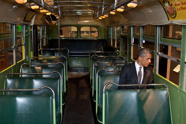 Iconic photo! RT @BarackObama: In a single moment 58 years ago today, Rosa Parks helped change this country. http://t.co/a5emOHC5mx