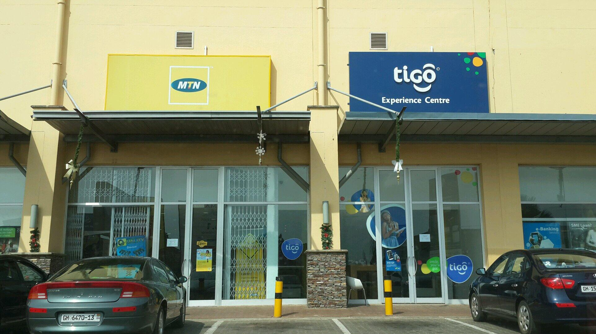 Tigo and MTN shops at the mall