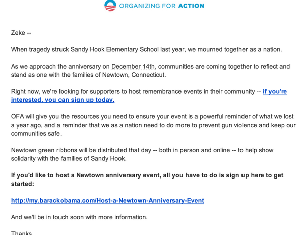 Obama Organizing for Action is organizing Newtown anniversary evennts