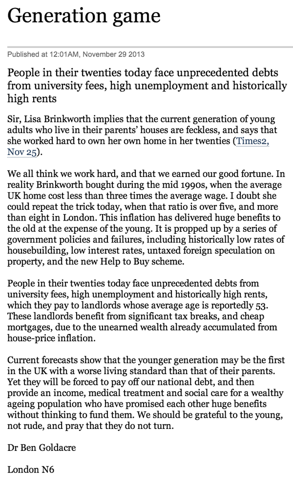 I wrote a stern letter to The Times about the young rising up to eat the old if they don't stop crowing. http://t.co/TlA1s0Qazu