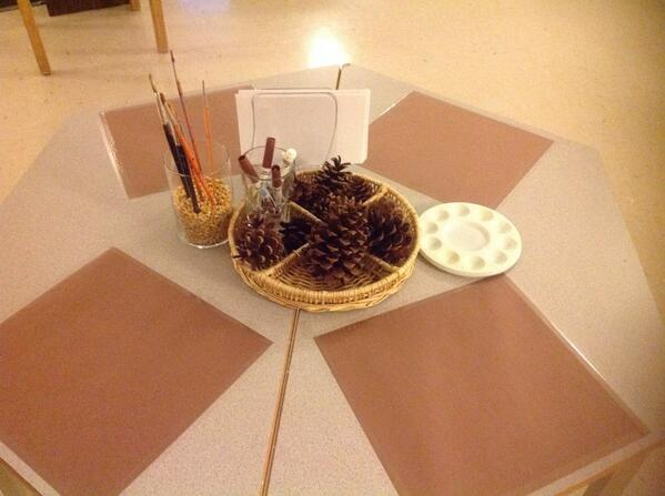 Before I go, here's a quick bit of pinecone art area/exploration happening in my class today. #kinderchat http://t.co/PerPyrga5E