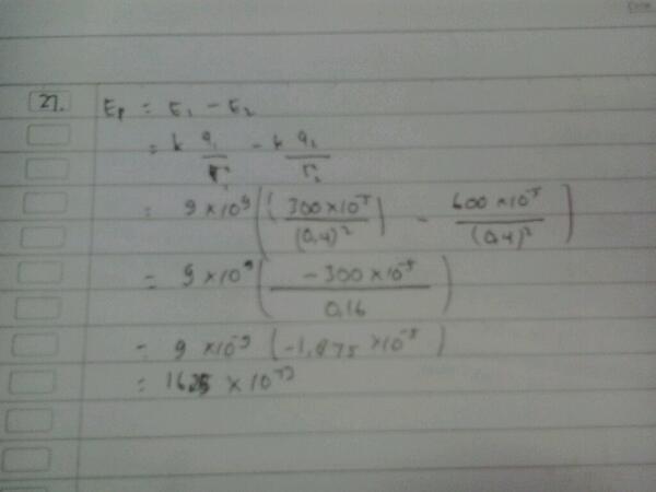 Jawaban Indah Purnama Sari tentang Kuat Medan Elektrostatik
