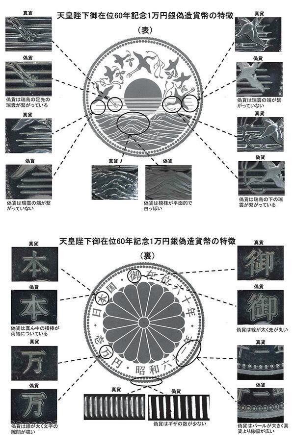 【注意!】天皇陛下御在位60年記念1万円銀貨幣の偽造貨幣が発見されました。不審な貨幣を見つけた際には、直ちにお近くの警察、または日本銀行までお知らせください。 http://t.co/4n7AMqFiGO http://t.co/DpLDR6i88m