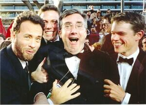 Tom Hanks, Ben Affleck and Matt Damon drag Keith over the security line at the Oscars March 21, 1999