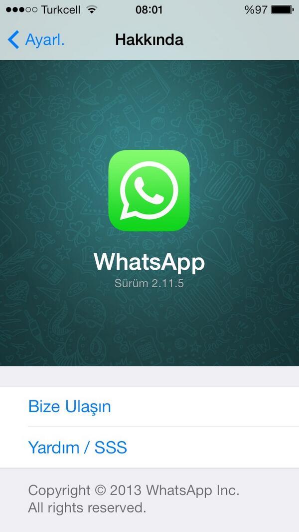 WhatsApp güncellenerek iOS 7 tasarımına nihayet kavuştu. http://t.co/gQjsUoT2vQ