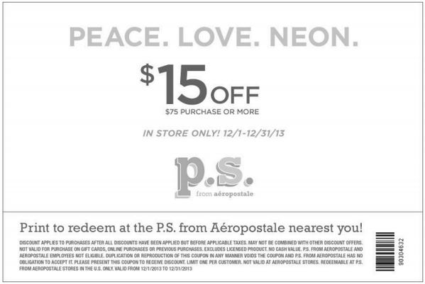 3. Avoid the usual $7 charge for return shipping by taking items back to a local store for free. 4. A $5 credit is added to your Aeropostale PS rewards account as soon as you accrue 75 points. A birthday gift and exclusive sale access are some extra perks of the program. 5. .
