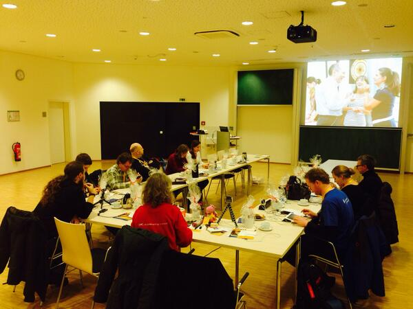 A fine small crowd tweeting themself warm in preparation for #ScienceTweetup http://t.co/GiaOAJcCbP
