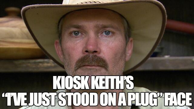 "Kiosk Keith's ""I've just stepped on a plug face""… http://t.co/B7wZMaPVMQ #imacelebrity http://t.co/J0OOwResMT"