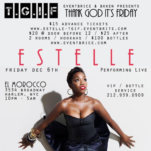 RT @SocialiteIam: The one and only @EstelleDarlings will be live at El Morocco this FRIDAY,  be there! http://t.co/8nMLXr6jl9