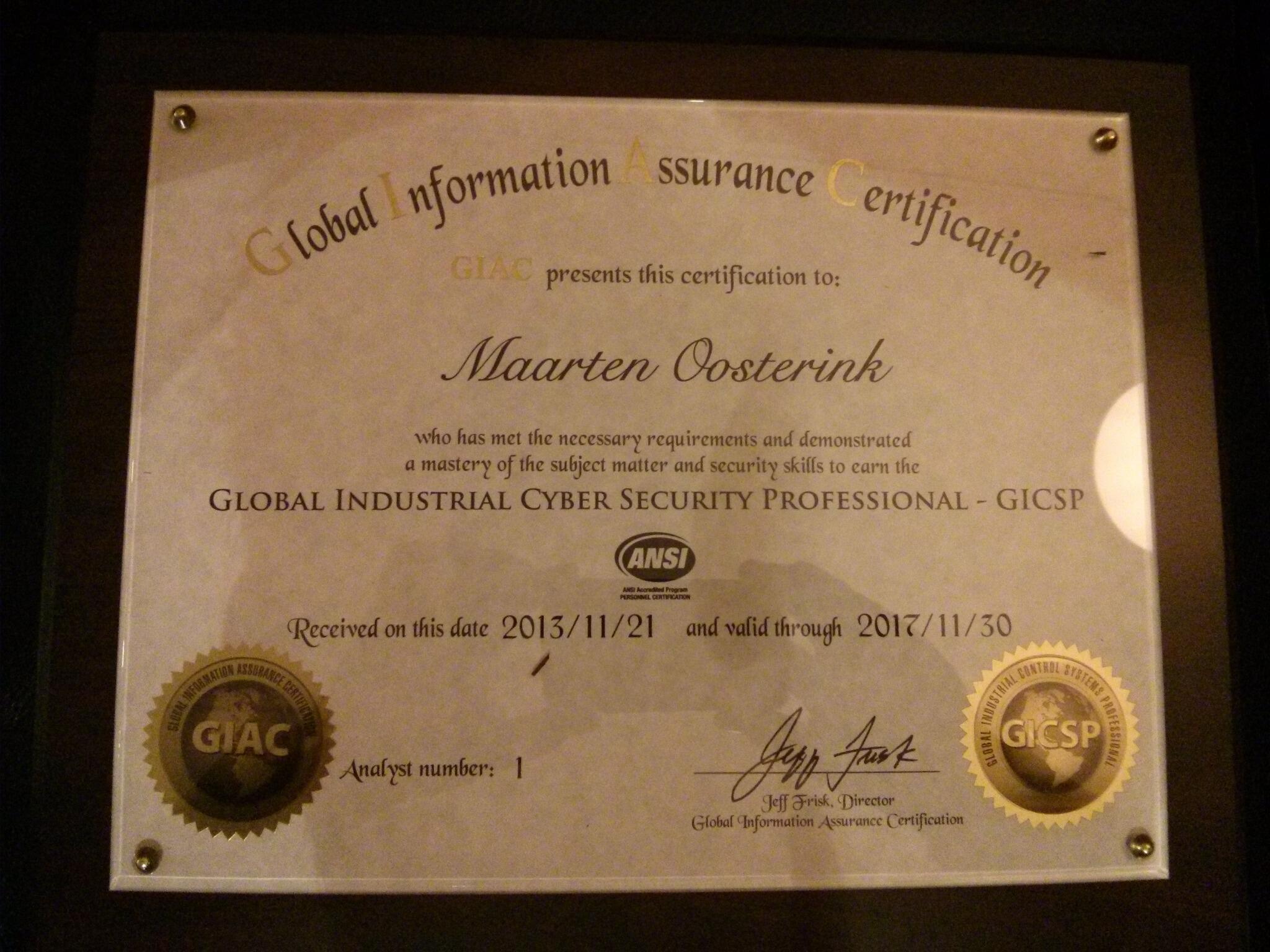 Maarten Oosterink On Twitter Received My Gicsp Certificate Today