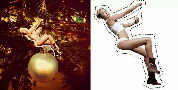 DIY: I got you this for your holiday decorations. Cut and mount Genetically Modified Miley Christmas Tree Ornament http://t.co/LFQ2SytApN