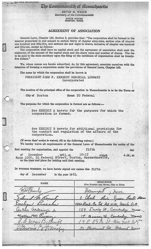 The original document (with Robert and Ted Kennedy's signatures) establishing the JFK Library Foundation. http://t.co/akWrx6dRqS