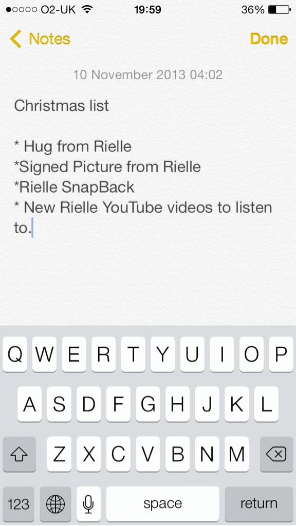 """@TeamRielle: I can cross off something from my Christmas list because of @rielleUK http://t.co/WzJHJ1e60X "" yes!!!"