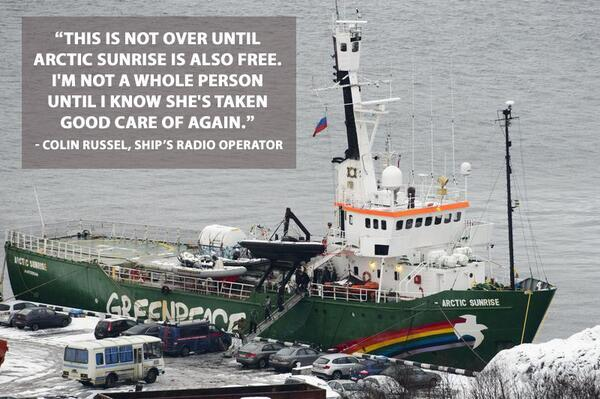 Twitter / GreenpeaceAustP: The #Arctic30 are out on bail, ...