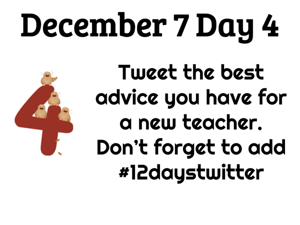 Day 4 of #12daystwitter What's the best advice you have for new teachers? #npspanthers http://t.co/P4aQTaiDzB