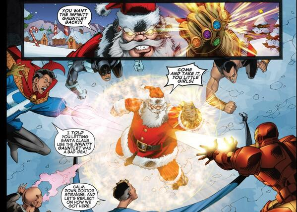 For my final tweet from the Marvel offices in 2013, I give you Santa, mad with power from the Infinity Gauntlet... http://t.co/fFPvClAkmb
