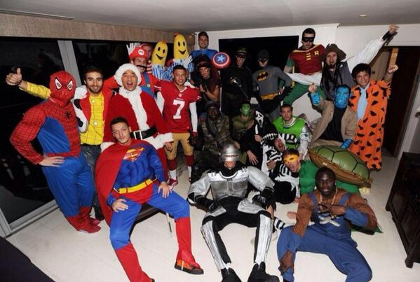 Pictures: A team photo from Arsenals fancy dress Xmas party (plus Ramseys Rambo selfie, Ozil is Superman)