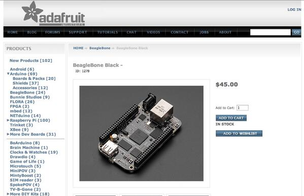NEWS FLASH - BeagleBone Black in Stock | PIAF - Your own