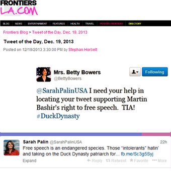 "tweet text: @SarahPalinUSA I need your help in locating your tweet supporting Martin Bashir""s right to free speech. TIA! #DuckDynasty"