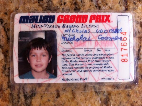 Nick coombs on twitter tbt go kart license from 1998 - Licence 4 prix ...