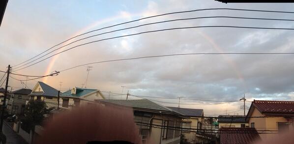 みんな、ドーム型の虹でてるよー\(^o^)/!