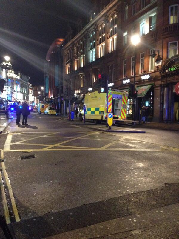 Still lots of police at the #apollo theatre in London. 40 walking wounded, 5 seriously injured taken to hospital http://t.co/hCNYtJ7YnM
