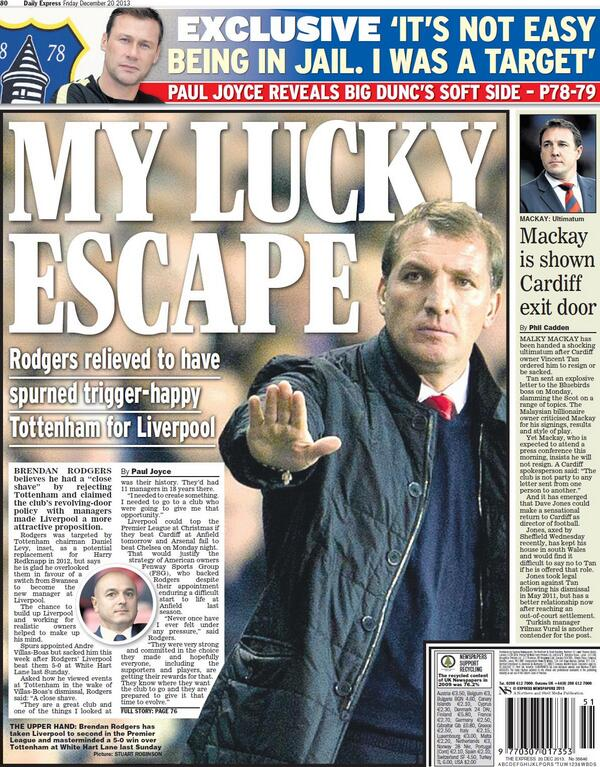 Liverpool manager Brendan Rodgers relieved to have turned down Spurs job in 2012 [Friday Papers]