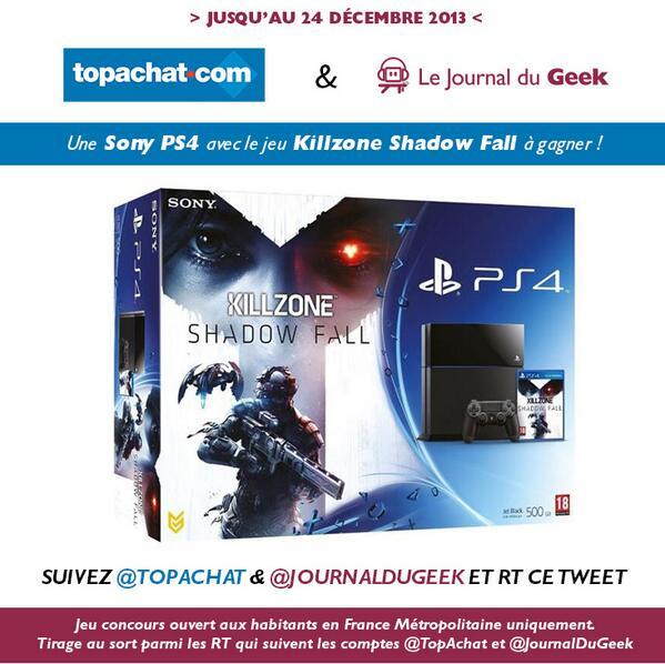 Pour tenter de gagner une Sony #PS4 avec Killzone Shadow Fall, follow @TopAchat & @JournalDuGeek et RT ce tweet. :)
