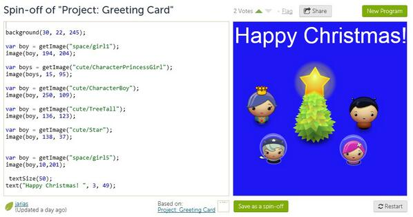 Happy holidays everyone! Here's a Christmas card designed by our 5th grader Joseph during #hourofcode @khanacademy http://t.co/QxOrVDC51x
